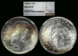 1946-s Roosevelt Dime Graded Ms65ft By Ngc ...... Color