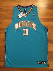 Authentic Adidas New Orleans Hornets Chris Paul Teal Purple Rookie Jersey 56