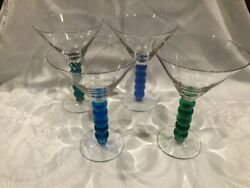 Ball Bead Stem Martini Glasses In Shades Of Blue And Green - Set Of 4