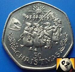 1995 Gibraltar 50p Fifty Pence Christmas Singing Penguins Uncirculated Unc