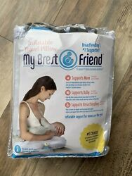 My Brest Friend Inflatable Travel Pillow Easy Wash Zip Off Cover Black White New