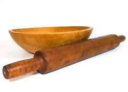 Late 19th-early 20th C Primitive Long Maple Wooden Rolling Pin W/incised Handles