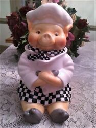Cute Vintage Youngs Heartfelt Kitchen Creations Pig Chef Cookie Jar Nwt