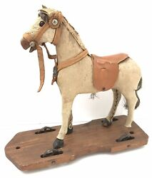 Antique Victorian Wooden Skin Pull Along Horse Toy On Wheels 9.5andrdquo C.1890