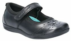 Hush Puppies Black Amber Jnr Touch Fastening School Shoes