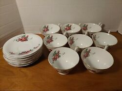 Clarence Bone China Made In England Cup And Saucer With Roses Gold Trimmed 16 Pcs.