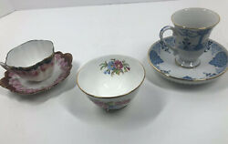 Mismatched Cabinet Cups And Saucers And Tiny Sugar Bowl Avon Delphine