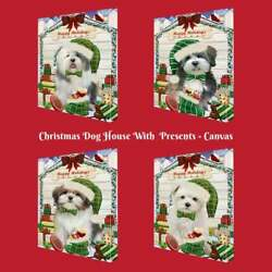 Christmas Dog Cat With Presents Pet Photo Canvas Wall Art Décor 24x36 Inches