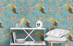 3d Flowers Singing Bird Wallpaper Wall Mural Removable Self-adhesive Sticker