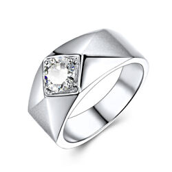 Solid 14k White Gold 6.5mm Round Flawless Moissanite Gemstone Menand039s Ring Antique