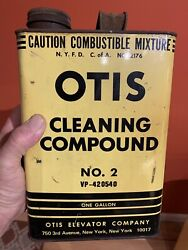 Vintage Otis Elevator Empty 1 Gallon Cleaning Compound Advertising Oil Can