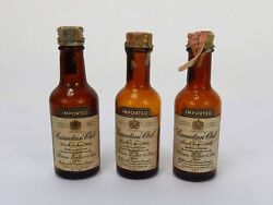 3 Vintage Imported Canadian Club Glass Mini Airline Bottles Empty