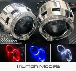 Angel Halo Eye Projector Lens Built-in Led Hid Headlights Lights For Triumph