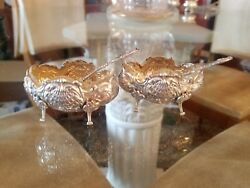 2 Victor Boivin Salt Cellars And Spoons French Sterling Silver 950 / 1000