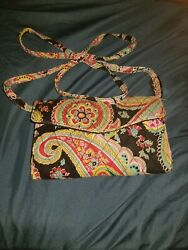 Vera Bradley All In One Crossbody Wallet Organizer phone ID Pocket Black W pink $15.00