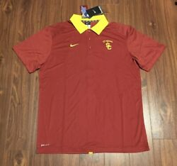 Usc Trojans Nike Coaches Sideline Dri-fit Polo Shirt Men's Large New With Tags