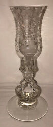 Cambridge Rose Point Crystal 11 1/2 Hurricane Lamp Etched Chimney 1603
