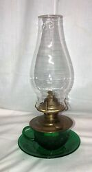 Rare Vintage Anchor Hocking Sandwich Green 11 1/2 Cup And Saucer Rare Oil Lamp