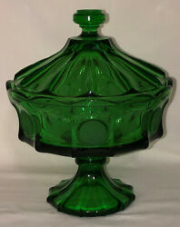 Fostoria Coin Frosted Emerald Green 8 1/2 Footed Rimmed Bowl/compote W/lid