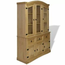 Rustic Solid Wood Hutch Mexican Style Buffet Pinewood Sideboard Display Cabinet