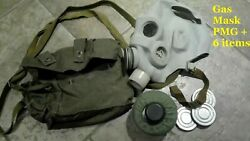 Full Set Vintage Soviet Russian Ussr Military Pmg Gas Mask Size 1,2,3,4