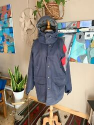90s Vintage Unisex Navy Hooded Gortex Columbia Jacket Made In Usa