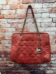 Michael kors Red Quilted Handbag With Gold Chain Straps