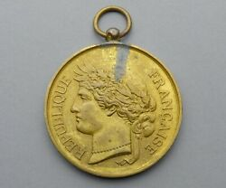 French Large Medal. Woman Marianne Female Gallia. Art Nouveau. Pendant By Oudinandeacute