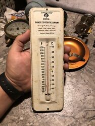 Vintage Felco Ledyard Metal Thermometer Sign Feed Seed Corn Works Advertising