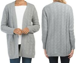 Tahari Pure Luxe 100 Cashmere Open Front Cable Knit 32 Long Cardigan Grey Xs-m