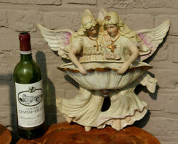 Xl German Faience Porcelain Religious Angel Holy Water Font Marked 1950
