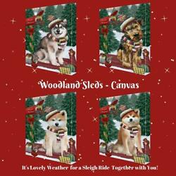 Christmas Woodland Sled Dog Cat Pet Photo Canvas Wall Art Décor 24x36 In