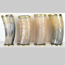 Set Of 4 Natural Ox Horn Tankard Viking Drinking Cup Chalice Stein For Beer Wine