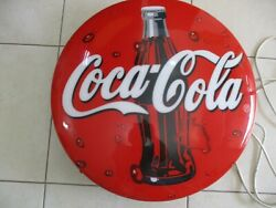 A Coca Cola Button Sign, Wall Henged,plastic Made,fluorescent Lamp Inside,2006.