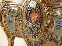 1850and039s Rare French Gilt Bronze And Champleve Enameled Jardiniere Flower Pot