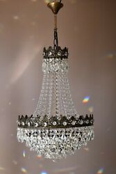 Empire Vintage Crystal Chandelier, 1950's Antique Lighting, French Lamp On Sale