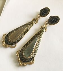 Fantastic Victorian 14k Long Earrings With Black Enamal And Hair Under Glass
