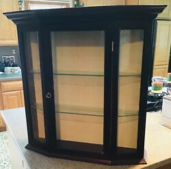 Beautiful Vintage Wall Hanging Wood Curio Cabinet/display Case W/glass Shelf's