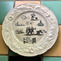 1800and039s Antique Riddle Rebus Puzzle Transferware Plate / France