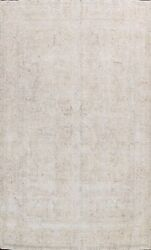 Muted Semi Antique Tebriz Evenly Low Pile Area Rug Distressed Hand-knotted 9x12