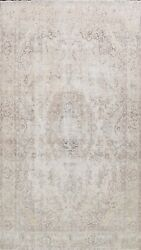 Muted Semi Antique Distressed Tebriz Area Rug Evenly Low Pile Wool Handmade 9x13