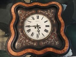 Beautiful Antique French Wall Clock w Mother of Pearl Vine Design Signed