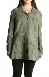 St.john 244581 Womens Suede Leather Jacket Button Front Green Size Large