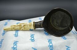 Antique Oriental Figural Hand Carved Handle And Brass Ladle Silk Pan Iron 11 X 4