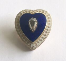 Antique Victorian 14k Blue And White Enamel Heart Pin With Rose Cut Diamond