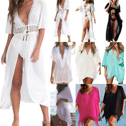 Beach Women Bikini Cover Up Swimwear Loose Kimono Cardigan Mini Dress Sarong Top $12.53