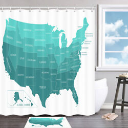 U.s. State Names And Locations Shower Curtain Bathroom Decor Fabric And12hooks 71