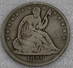 1859o Seated Liberty Half Dollar Vg+/f Nice Coin Free Shipping With Five Items B