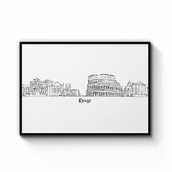 Rome Drawing Cityscape Minimtal Travel Wall Art Print Poster Framed Or Canvas