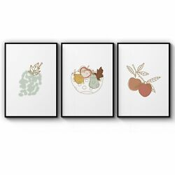 Set Of Minimal Fruit Kitchen Cafe Style Wall Art Print Poster Framed Or Canvas